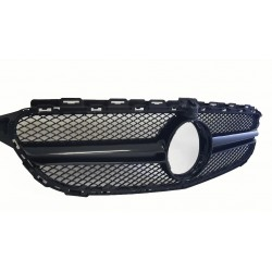 FRONT GRILL COMPATIBLE WITH MERCEDES-BENZ C W205 GLOSSY BLACK FOR FRONT CAMERA