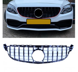 FRONT GRILL GLOSSY BLACK COMPATIBLE WITH MERCEDES-BENZ C 63 AMG (S) W205