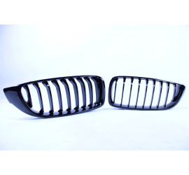 FRONT GRILL KIDNEYS SINGLE BARS GLOSSY BLACK COMPATIBLE WITH BMW F32 F33 F36 F80 F82