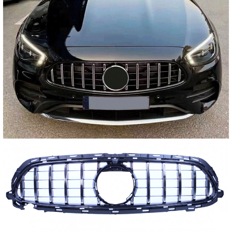 GRILL CHROME COMPATIBLE WITH MERCEDES E CLASS W213 S213 A238 C238 FACELIFT WITH AMG LINE PACKAGE