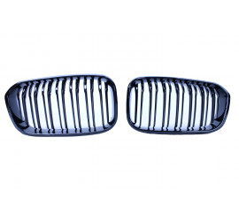GRILL KIDNEYS DOUBLE BARS GLOSSY BLACK COMPATIBLE WITH BMW F20 LCI 1 SERIES