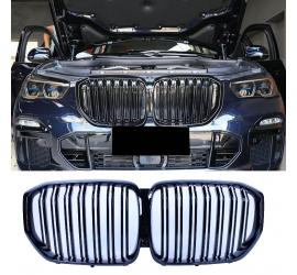 GRILOVANÉ OBLIČEJE LESKLÉ ČIERNE KOMPATIBILNÉ S BMW X5 G05 2019+ DVOJNÁSOBKY