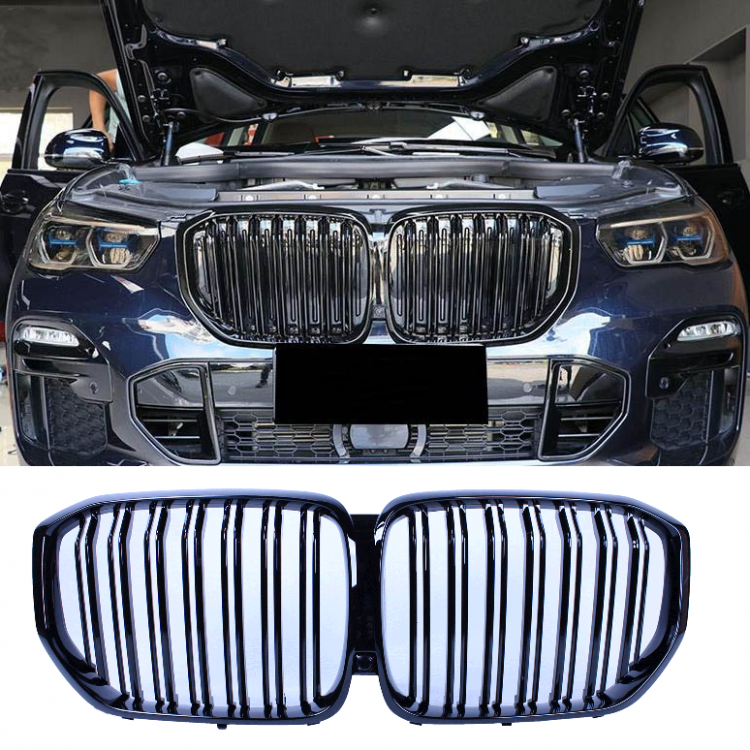 GRILL KIDNEYS GLOSSY BLACK COMPATIBLE WITH BMW X5 G05 2019+ DOUBLE BARS