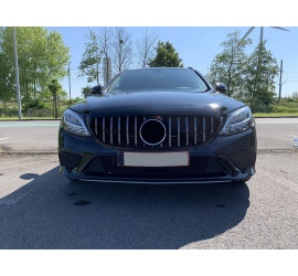 GRILL BLACK WITH CHROME COMPATIBLE WITH MERCEDES-BENZ C-CLASS W205 FACELIFT WITH FRONT CAMERA