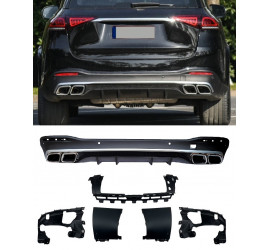 DIFFUSER COMPATIBLE WITH MERCEDES GLE W167 2019+ WITH DOUBLE CHROME EXHAUST TIPS