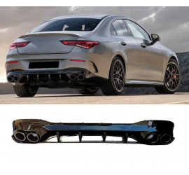 DIFFUSER COMPATIBLE WITH MERCEDES CLA C118 X118 W118 AMG LINE DOUBLE BLACK EXHAUST TIPS ROUND