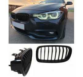 GRILL NIEREN COMPATIBEL MET BMW 3 SERIE F30 - F31 GLANZEND ZWART ENKELE SPIJLEN