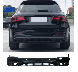 DIFFUSER COMPATIBLE WITH MERCEDES GLC SUV X253 2015+ WITH BLACK EXHAUST TIPS