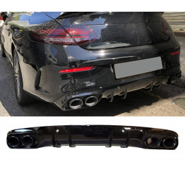 DIFFUSER COMPATIBLE WITH MERCEDES C COUPE CABRIO C205 A205 AMG LINE DOUBLE BLACK ROUND EXHAUST TIPS