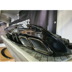 DIFFUSER WITH BLACK EXHAUST TIPS COMPATIBLE WITH MERCEDES W205 C CLASS SEDAN AND BREAK