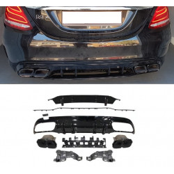 DIFFUSER WITH BLACK EXHAUST MOLDERS COMPATIBLE WITH MERCEDES W205 C CLASS BERLINE AND BREAK