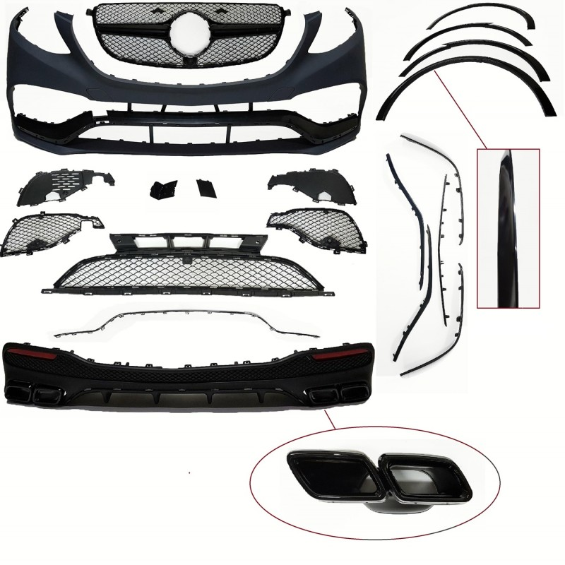 BODY KIT COMPATIBLE WITH MERCEDES-BENZ GLE SUV W166 (GLOSSY BLACK PARTS)