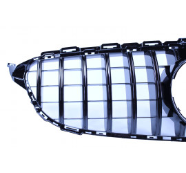 FRONT GRILL GLOSSY BLACK COMPATIBLE WITH MERCEDES-BENZ C-CLASS W205 - EQUIPPED FOR 360° CAMERA