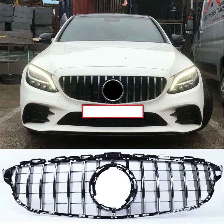 FRONT GRILL BLACK/CHROME COMPATIBLE WITH MERCEDES-BENZ C W205 FACELIFT