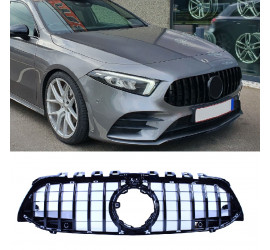 BLACK FRONT GRILL COMPATIBLE WITH MERCEDES-BENZ A CLASS W177 WITH FRONTCAMERA