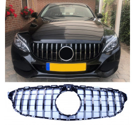 FRONT GRILL BLACK/CHROME COMPATIBLE WITH MERCEDES-BENZ C W205 - PREPARED FOR 360° CAMERA